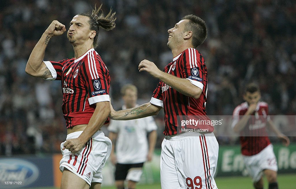 <a gi-track='captionPersonalityLinkClicked' href=/galleries/search?phrase=Zlatan+Ibrahimovic&family=editorial&specificpeople=206139 ng-click='$event.stopPropagation()'>Zlatan Ibrahimovic</a> (L) of AC Milan celebrates his goal with team-mates <a gi-track='captionPersonalityLinkClicked' href=/galleries/search?phrase=Antonio+Cassano&family=editorial&specificpeople=214558 ng-click='$event.stopPropagation()'>Antonio Cassano</a> (R)during the UEFA Champions League group H match between AC Milan and FC Viktoria Plzen at Giuseppe Meazza Stadium on September 28, 2011 in Milan, Italy.