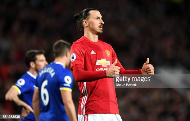 Zlatan Ibrahimovic of anchester United reacts during the Premier League match between Manchester United and Everton at Old Trafford on April 4 2017...