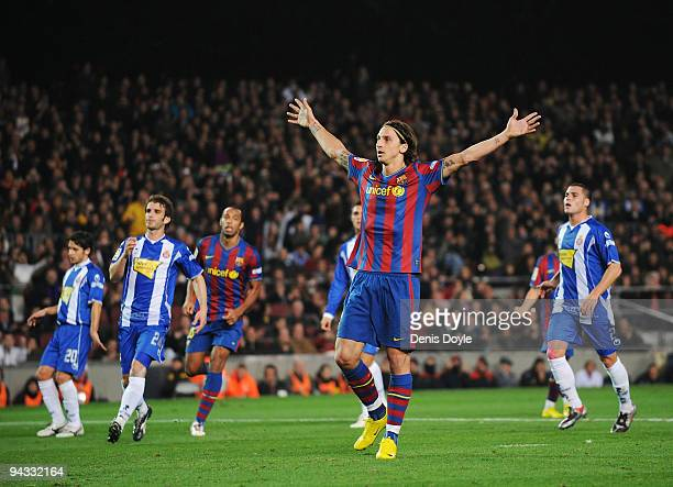 Zlatan Ibrahimovic of Barcelona celebrates after scoring his teams first goal during the La Liga match between Barcelona and Espanyol at the Camp Nou...