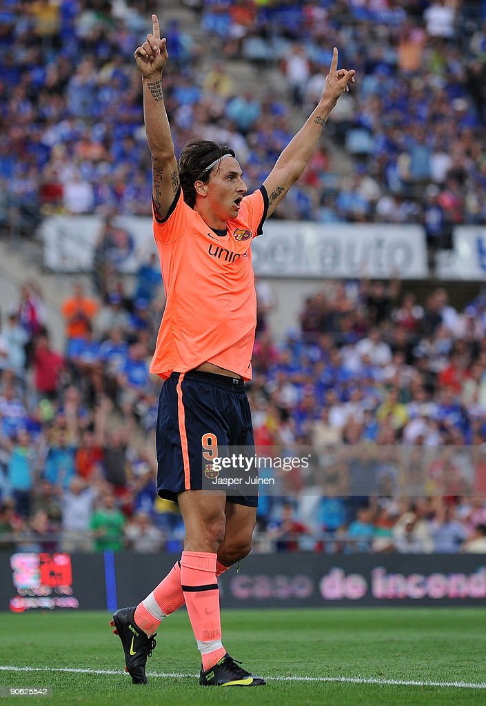 Zlatan Ibrahimovic of Barcelona celebrates scoring his sides opening goal during the La Liga match between Getafe and Real Madrid at the Coliseum...