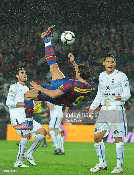 Zlatan Ibrahimovic of Barcelona fires an overhead kick towards goal during the La Liga match between Barcelona and Tenerife at Camp Nou stadium on...