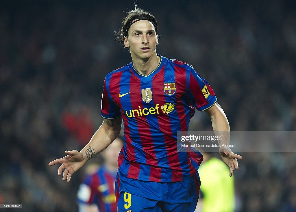 Zlatan Ibrahimovic of FC Barcelona celebrates after scoring during the La Liga match between Barcelona and Osasuna at the Camp Nou Stadium on March...