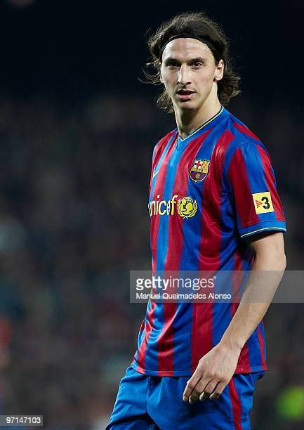 Zlatan Ibrahimovic of FC Barcelona looks on during the La Liga match between Barcelona and Malaga at Camp Nou on February 27 2010 in Barcelona Spain...