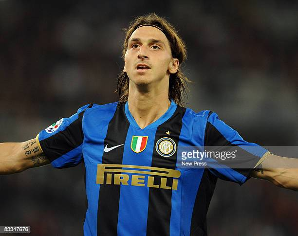 Zlatan Ibrahimovic of Inter celebrates his goal during the Serie A match between Roma and Inter at the Stadio Olimpico on October 19 2008 in Roma...