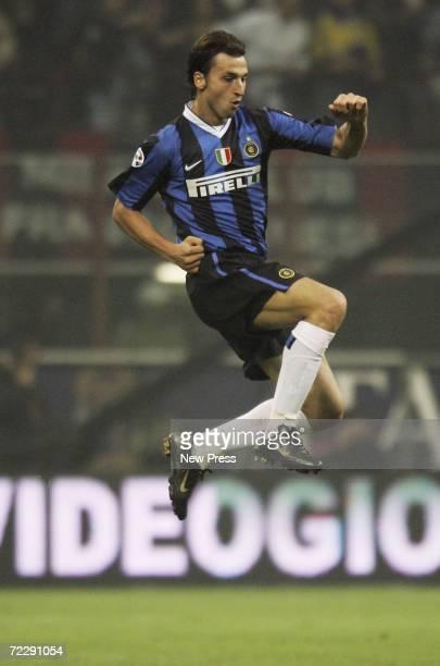 Zlatan Ibrahimovic of Inter Milan celebrates scoring during the Serie A match between AC Milan and Inter Milan at the San Siro on October 28 2006 in...