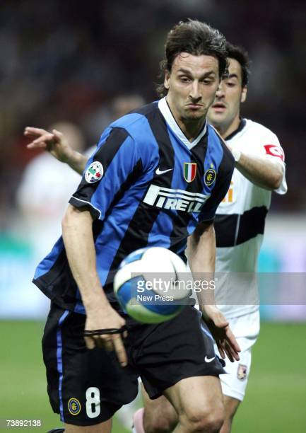 Zlatan Ibrahimovic of Inter Milan runs on the ball during the Serie A league match between Inter Milan and Palermo at the San Siro Stadium on April...