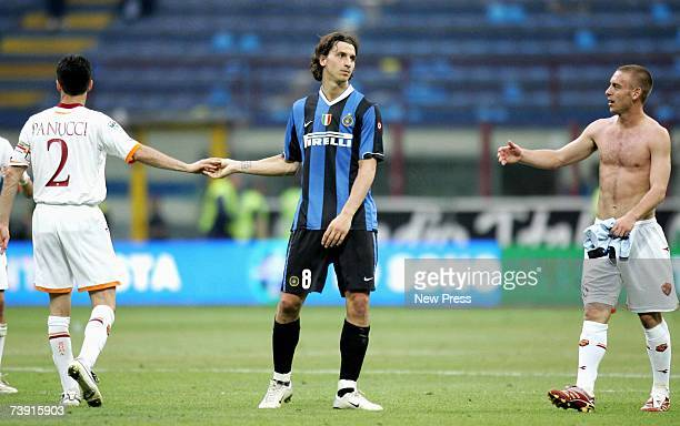 Zlatan Ibrahimovic of Inter Milan shakes hands with Roma players after the Serie A match between Inter Milan and Roma at the San Siro stadium on...