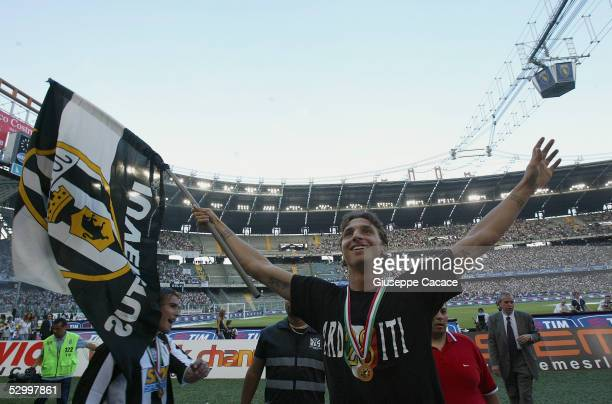 Zlatan Ibrahimovic of Juventus celebrates at the end of the last Serie A football match of the season between Juventus and Cagliar in Delle Alpi...