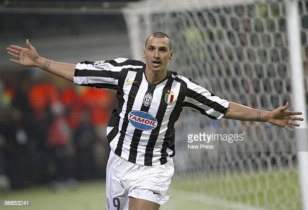 Zlatan Ibrahimovic of Juventus celebrates scoring during the Serie A match between Inter Milan and Juventus at the Giuseppe Meazza San Siro Stadium...