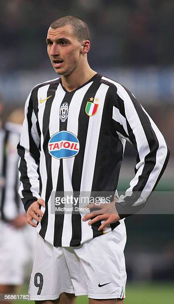 Zlatan Ibrahimovic of Juventus in action during the Serie A match between Inter Milan and Juventus at the Stadio San Siro on February 12 2006 in...