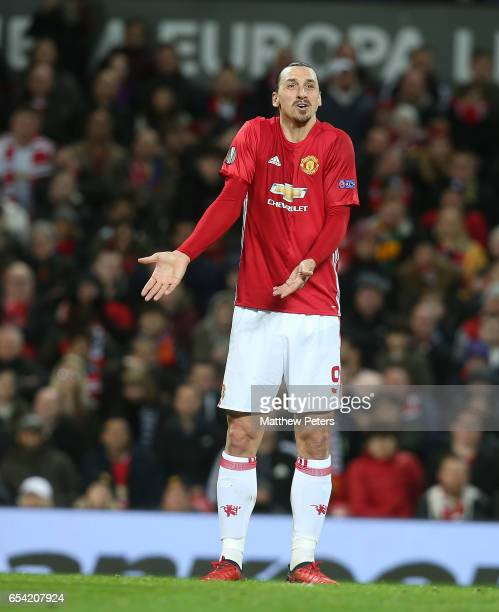 Zlatan Ibrahimovic of Manchester United appeals for the ball during the UEFA Europa League Round of 16 second leg match between Manchester United and...