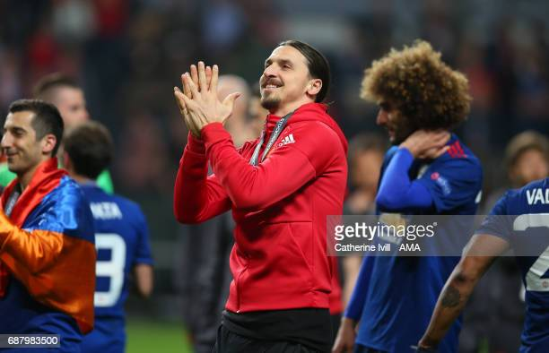 Zlatan Ibrahimovic of Manchester United applauds during the UEFA Europa League Final match between Ajax and Manchester United at Friends Arena on May...