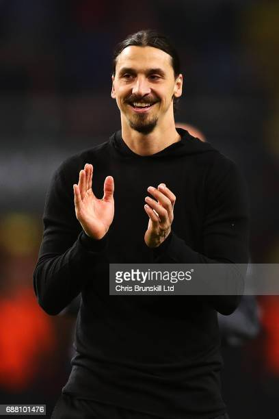 Zlatan Ibrahimovic of Manchester United applauds the supporters following the UEFA Europa League Final match between Ajax and Manchester United at...