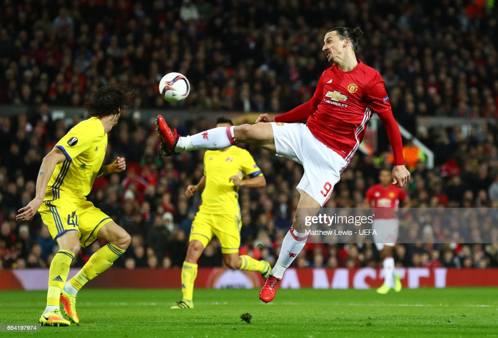 Zlatan Ibrahimovic of Manchester United attempts to coontrol the ball during the UEFA Europa League Round of 16, second leg match between Manchester United and FK Rostov at Old Trafford on March 16, 2017 in Manchester, United Kingdom.