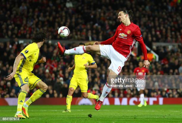 Zlatan Ibrahimovic of Manchester United attempts to coontrol the ball during the UEFA Europa League Round of 16 second leg match between Manchester...