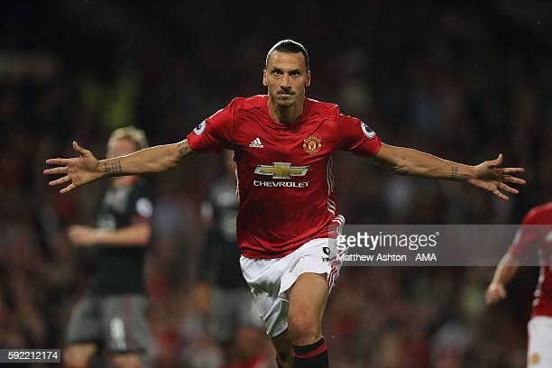 Zlatan Ibrahimovic of Manchester United celebrates after scoring a goal to make it 20 during the Premier League match between Manchester United and...