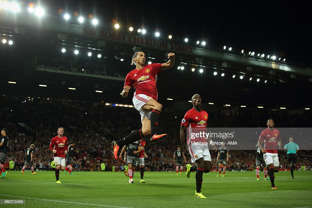 Zlatan Ibrahimovic of Manchester United celebrates after scoring a goal to make it 2-0 during the Premier League match between Manchester United and Southampton at Old Trafford on August 19, 2016 in Manchester, England.