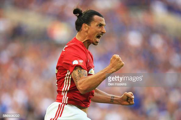 Zlatan Ibrahimovic of Manchester United celebrates after scoring his sides second goal during The FA Community Shield match between Leicester City...