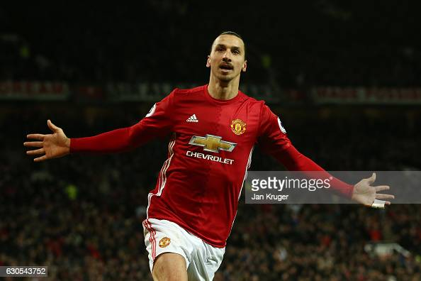 Zlatan Ibrahimovic of Manchester United celebrates after scoring his team's second goal during the Premier League match between Manchester United and...