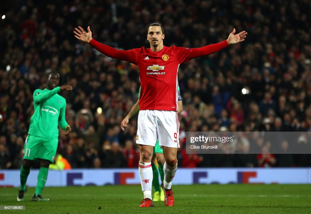 Zlatan Ibrahimovic of Manchester United celebrates after scoring his third and his sides third goal during the UEFA Europa League Round of 32 first leg match between Manchester United and AS Saint-Etienne at Old Trafford on February 16, 2017 in Manchester, United Kingdom.