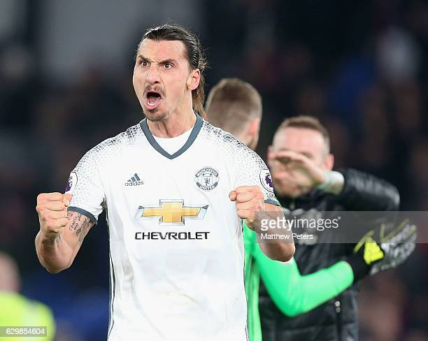 Zlatan Ibrahimovic of Manchester United celebrates after the Premier League match between Crystal Palace and Manchester United at Selhurst Park on...