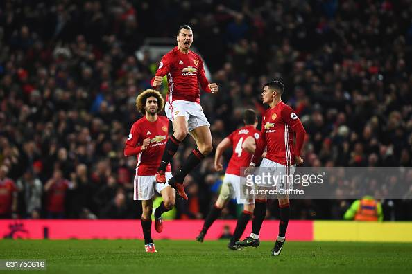 Zlatan Ibrahimovic of Manchester United celebrates as he scores their first and equalising goal during the Premier League match between Manchester...