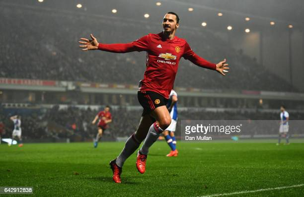 Zlatan Ibrahimovic of Manchester United celebrates as he scores their second goal during The Emirates FA Cup Fifth Round match between Blackburn...
