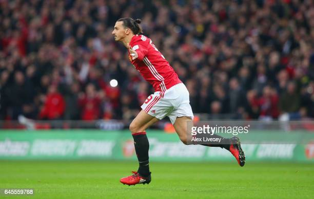 Zlatan Ibrahimovic of Manchester United celebrates as he scores their first goal during the EFL Cup Final match between Manchester United and...
