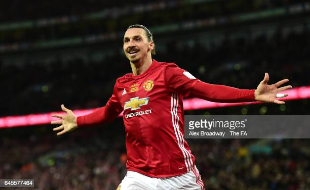 Zlatan Ibrahimovic of Manchester United celebrates as he scores their third goal during the EFL Cup Final between Manchester United and Southampton...