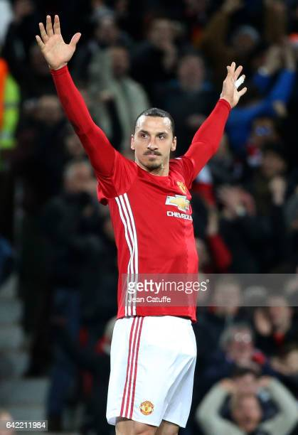 Zlatan Ibrahimovic of Manchester United celebrates his first goal during the UEFA Europa League Round of 32 first leg match between Manchester United...