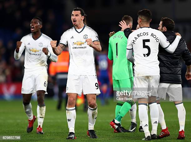 Zlatan Ibrahimovic of Manchester United celebrates his team's win after the Premier League match between Crystal Palace and Manchester United at...