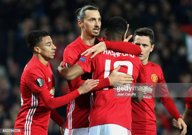 Zlatan Ibrahimovic of Manchester United celebrates his third goal with Jesse Lingard and Marcus Rashford of Manchester United during the UEFA Europa...