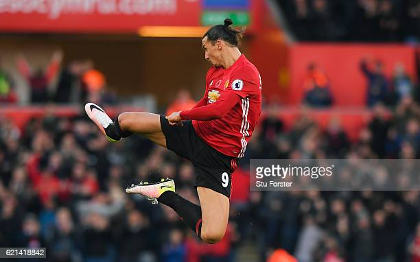 Zlatan Ibrahimovic of Manchester United celebrates scoring his sides second goal during the Premier League match between Swansea City and Manchester...