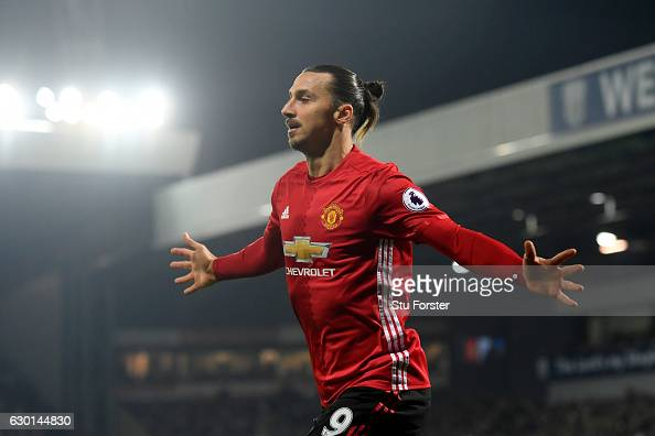 Zlatan Ibrahimovic of Manchester United celebrates scoring his sides first goal during the Premier League match between West Bromwich Albion and...