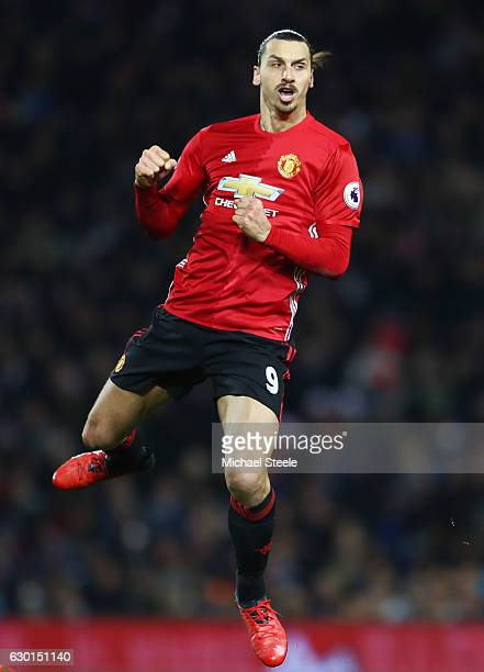 Zlatan Ibrahimovic of Manchester United celebrates scoring his sides second goal during the Premier League match between West Bromwich Albion and...