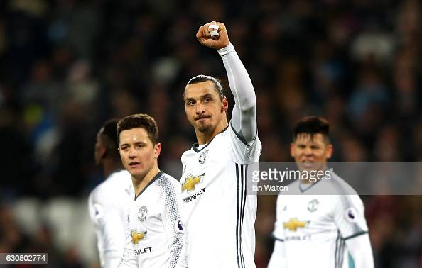 Zlatan Ibrahimovic of Manchester United celebrates scoring his team's second goal during the Premier League match between West Ham United and...