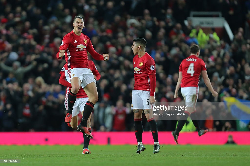 Zlatan Ibrahimovic of Manchester United celebrates scoring his team's first goal to make the score 1-1 during the Premier League match between Manchester United and Liverpool at Old Trafford on January 15, 2017 in Manchester, England.
