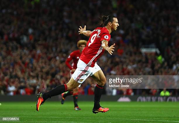 Zlatan Ibrahimovic of Manchester United celebrates scoring the opening goal during the Premier League match between Manchester United and Southampton...