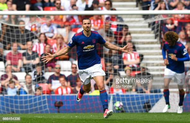 Zlatan Ibrahimovic of Manchester United celebrates scoring the opening goal during the Premier League match between Sunderland and Manchester United...