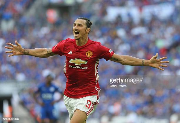 Zlatan Ibrahimovic of Manchester United celebrates scoring their second goal during the FA Community Shield match between Leicester City and...