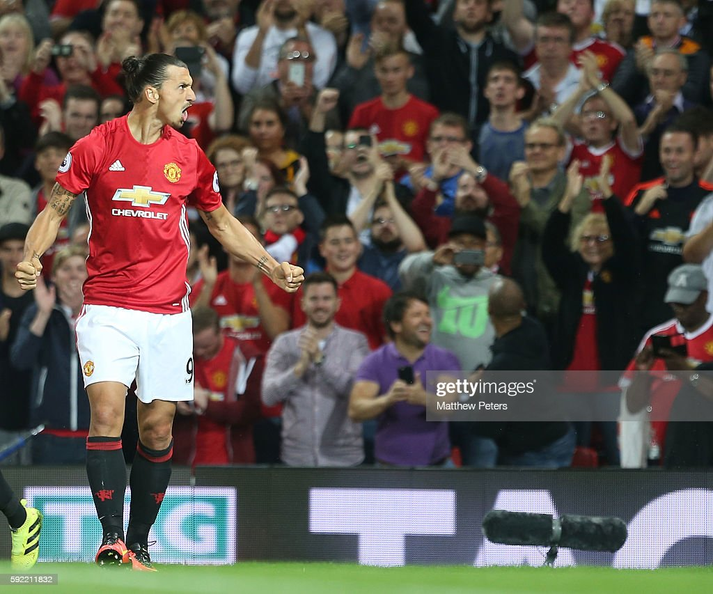 Zlatan Ibrahimovic of Manchester United celebrates scoring their second goal during the Premier League match between Manchester United and Southampton at Old Trafford on August 19, 2016 in Manchester, England.
