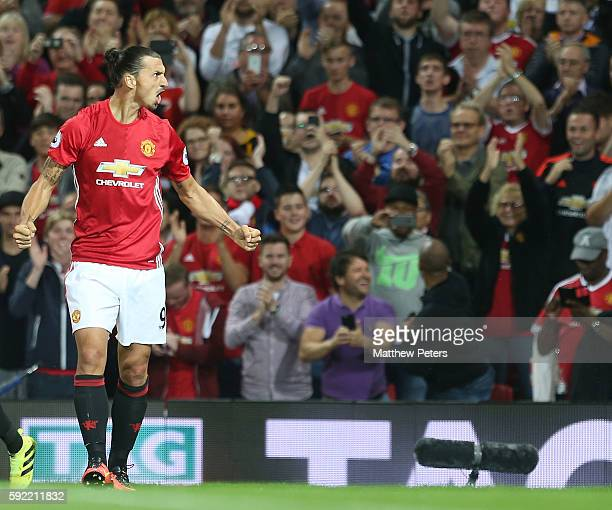 Zlatan Ibrahimovic of Manchester United celebrates scoring their second goal during the Premier League match between Manchester United and...
