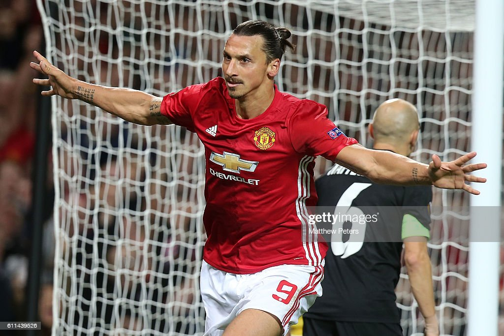Zlatan Ibrahimovic of Manchester United celebrates scoring their first goal during the UEFA Europa League match between Manchester United FC and FC Zorya Luhansk at Old Trafford on September 29, 2016 in Manchester, England.
