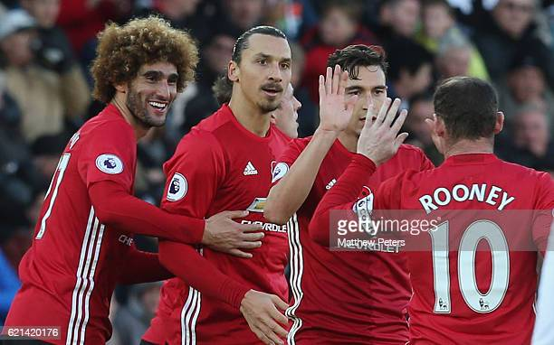 Zlatan Ibrahimovic of Manchester United celebrates scoring their second goal during the Premier League match between Swansea City and Manchester...
