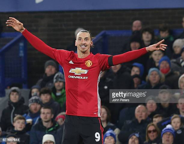 Zlatan Ibrahimovic of Manchester United celebrates scoring their first goal during the Premier League match between Everton and Manchester United at...