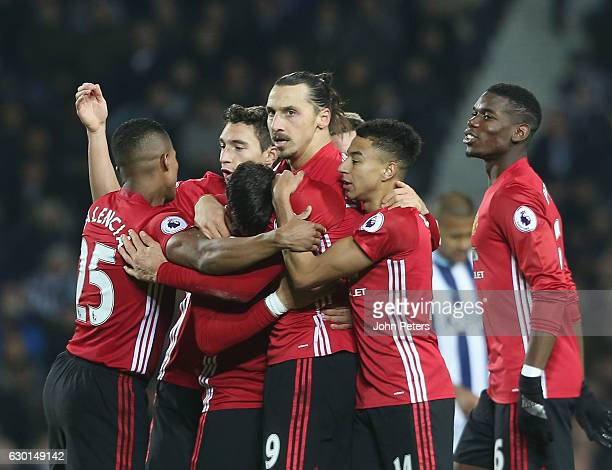 Zlatan Ibrahimovic of Manchester United celebrates scoring their second goal during the Premier League match between West Bromwich Albion and...