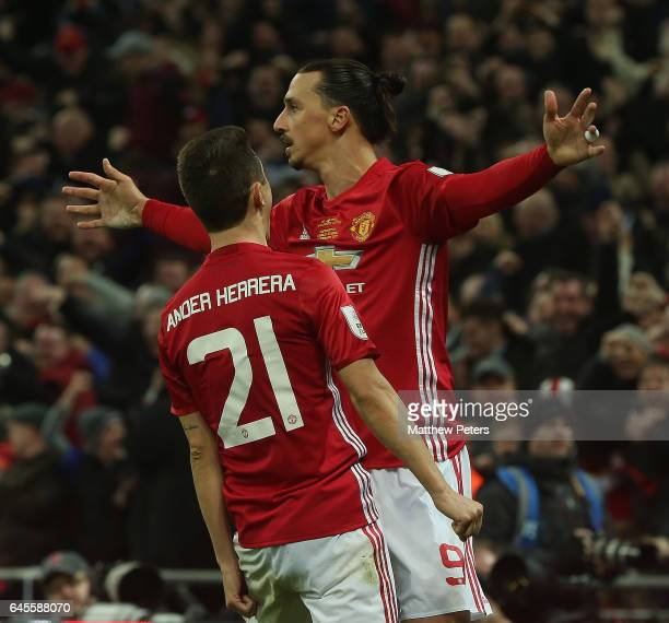Zlatan Ibrahimovic of Manchester United celebrates scoring their third goal during the EFL Cup Final match between Manchester United and Southampton...