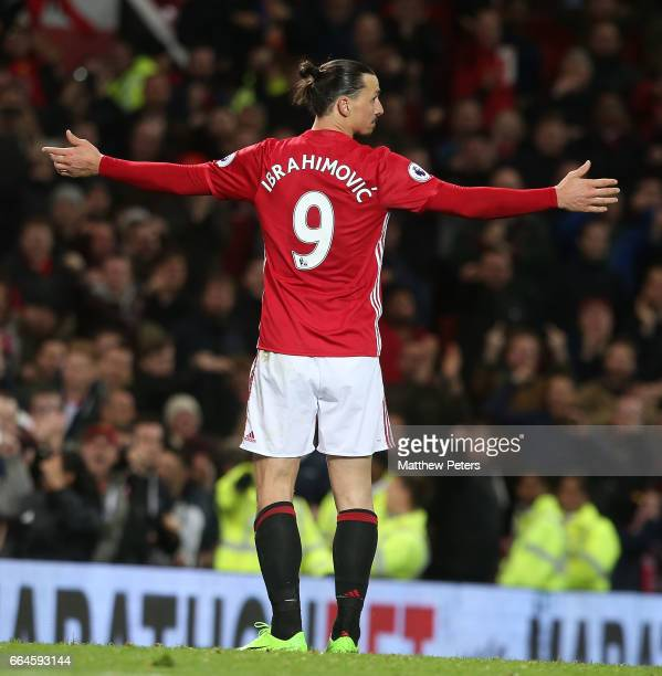 Zlatan Ibrahimovic of Manchester United celebrates scoring their first goal during the Premier League match between Manchester United and Everton at...