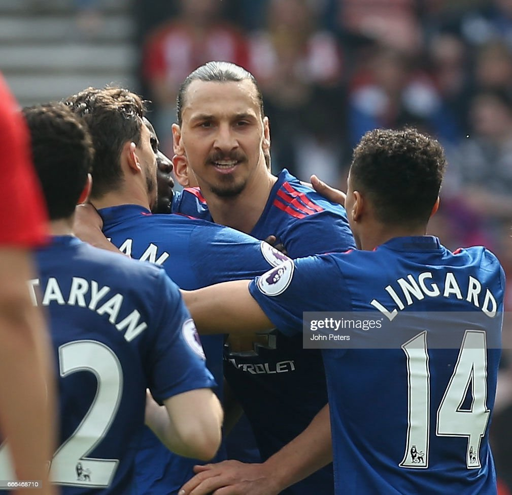 Zlatan Ibrahimovic of Manchester United celebrates scoring their first goal during the Premier League match between Sunderland and Manchester United at Stadium of Light on April 9, 2017 in Sunderland, England.