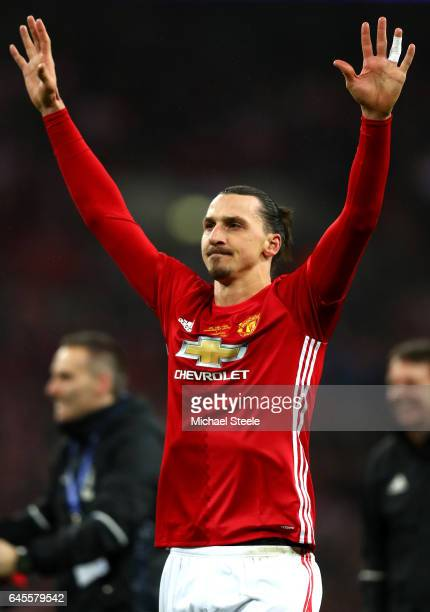 Zlatan Ibrahimovic of Manchester United celebrates victory after the EFL Cup Final match between Manchester United and Southampton at Wembley Stadium...